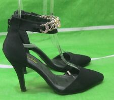 """new ladies Black 4""""Stiletto High Heel gold strap Pointy Toe Sexy Shoes Size  5.5"""