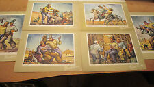 SIX Fred Harvey Cowboy Cards with William Dean Fausett Lithographs~ 6 3/4x9 1/4""