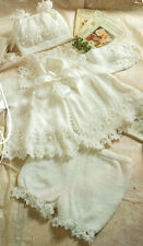 "Baby Matinee Coat Pants & Hat 14 - 18"" Lace Crochet Trim 4 Ply Knitting Pattern"