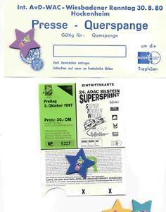 2 Tickets, Renntage in Hockenheim 1980+Supersprint Nürburgring 1997,