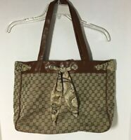 Chadwicks Tote Purse Brown Pattern Snap Clousure Scarf Accent