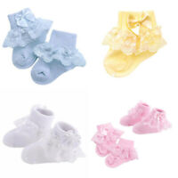 Newborn Kids Baby Girls Frilly Lace Bow Tutu Socks Infant Toddler Ankle Socks