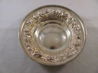 Antique stieff .925 Sterling Silver Repousse Bon Bon Dish 53 Rose 96g 5.5 in P