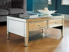 New Birlea Valencia Mirrored 2 Drawer Coffee Table Bevelled Glass Designer