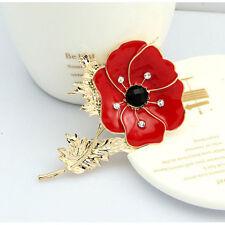 UK-Red-Poppy-Flower-Lapel-Pins-Badge-Banquet-Enamel Diamante Brooch