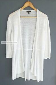 EILEEN FISHER // Size M // White Open Drape Pure Linen Knit Cardigan