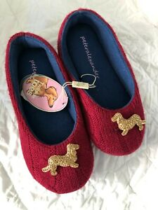 Ladies Peter Alexander Burgundy Knit slippers with Penny bling  Size 6 & 7