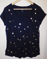 NWT GAP Women's Easy Scoop Neck T-Shirt Blue/Silver Stars Round Hem XS New