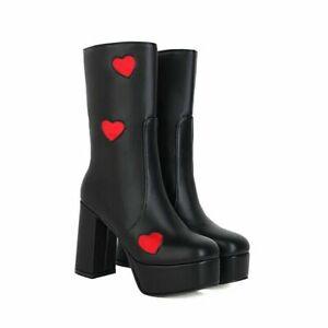 Punk Gothic Round Toe Zip Platform Heart Print Women Mid Calf Boots Block Heels