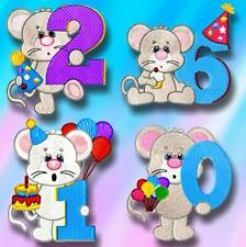 BIRTHDAY NUMBERS MICE  plus Just numbers  MACHINE EMBROIDERY DESIGNS CD or USB