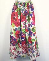 Oscar De La Renta Vintage Floral Taffeta Silk Maxi Skirt
