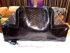 NWT $3750+ SALVATORE FERRAGAMO LARGE BLACK PYTHON SEQUIN CLUTCH BAG EVENING BAG