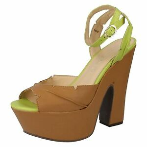 Ladies F10142 Platform Lime And Tan Sandals By Spot On Retail Price £3.99