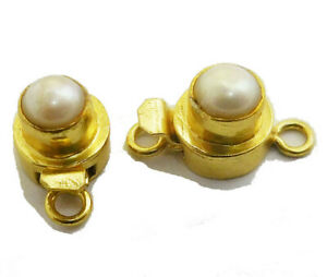 1 PC ROUND PEARL BOX CLASP 1 STRAND 18K GOLD PLATED 751 VTR-277