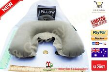 2x Pillow Inflatable Velour Car Flight Travel Nap Head Rest Air Cushion Neck SYD
