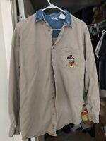 VINTAGE Disney Catalog Long Sleeve Shirt W/ Denim Collar - Medium Mickey Mouse