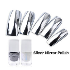 2Pcs Metallic Mirror Effect Nail Polish Metal Silver Varnish & Base Coat Set