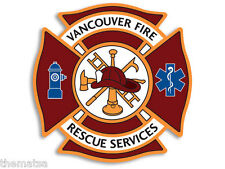 """VANCOUVER CANADA FIRE RESCUE SERVICES 4"""" TOOLBOX HELMET DECAL STICKER USA MADE"""