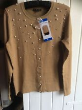 Jeanne Pierre Long Sleeve Cardigand Sweater With Bead De Camel Size Large Bnwt
