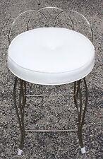 Vintage Retro Round Vanity Chair Stool White