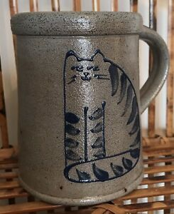 Rockdale Union Salt Glazed Cat Mug - 4in