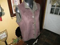 LL Bean Brown Faux Suede Sherpa Lined Button Front Vest • Women's Medium