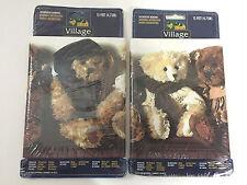 2 VILLAGE TEDDY BEAR PLUSH WALLPAPER BORDERS 15' BABY NURSERY Brown White