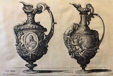 Le Pautre (1618-1682) paire d'aiguières gravée par Pequegnot estampe de 1856 ..