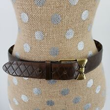 Betsey Johnson Belt Brown Quilted Cheetah Leopard Bow Brass Buckle Size S