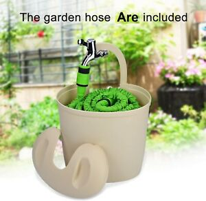 100FT Expanding Flexible Expandable Garden Water Hose Pipe With Bucket Holder