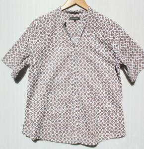 Sz 16 Duchamp fawn/white cotton print short sleeves collarless top or shirt. EUC
