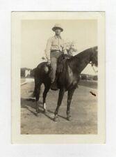 Vintage Photo Man Sitting On Horse Cigarette Soldier? 1940's Mar19