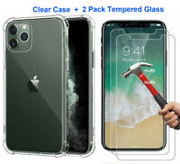 Case + 2 Screen Protector For iPhone 11 Pro Max XR 6S 7 8 Plus X XS Cover Clear