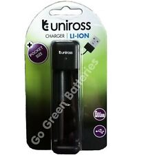Uniross Pocket Lithium Ion USB Charger for 18650, 18500, 14500, 18350, ICR123A
