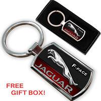 JAGUAR F-PACE KEYRING KEY CHAIN RING FOB CHROME METAL NEW GIFT