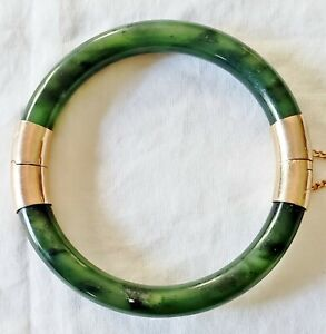 Vintage Jade 14K Engraved Hinged Bangle Bracelet 2-Tone Marbled Green
