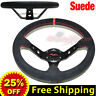 """JDM 350mm 14"""" SUEDE LEATHER DEEP DISH Racing Steering Wheel RED Stitches BLACK"""