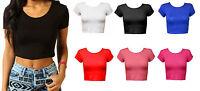 New Womens Girls Sexy Crop Top Ladies Short Sleeve Crop Top  TShirt Size8-14