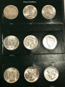 1921-1935 COMPLETE PEACE SILVER DOLLAR SET IN INTERCEPT ALBUM MUST SEE!