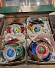 Christopher Radko Shiny Brite 4 Glass Christmas Ornaments, 3 Indents in Original