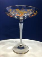 Vintage Clear Crystal Tazza Comport Hand Painted Cherries & Vines & Gold Gilt