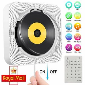 Bluetooth Portable CD Player Wall-Mounted Home Audio Boombox with Remote Control