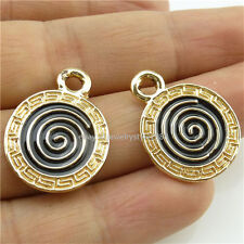 14070*10PCS Enamel Rose Gold Tone Lollipop Candy Pendant Charms