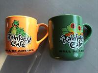 2 Colorful Rainforest Cafe Large Mugs Iggy (Orange) & Cha Cha (Green) 1999