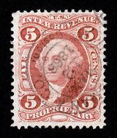 U.S. REVENUE STAMP 1ST ISSUE SCOTT #R29C PROPRIETARY 5¢ USED 1864 (SCV=$30.00)