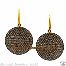 Cut Diamond Silver Disc Earring Jewelry Vintage 6.05cts Clear Genuine Old Rose