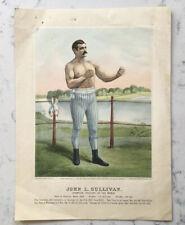 ANTIQUE JOHN L. SULLIVAN BOXER PUGILIST CURRIER & IVES LITHOGRAPH PRINT 1883