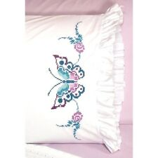 """Fairway Stamped Cross Stitch kit Pillowcases 20"""" x 30"""" ~ BUTTERFLY #82638 Sale"""