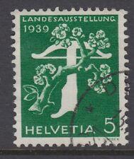 SWITZERLAND:1939 5c emerald National Exhibition,GERMAN,grilled gum SG394Ga used