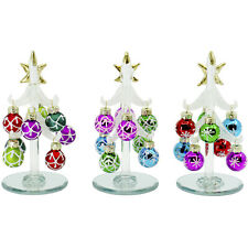 """5"""" Tabletop Glass Christmas Tree Figurine with Assorted Ball Ornaments, Set of 3"""